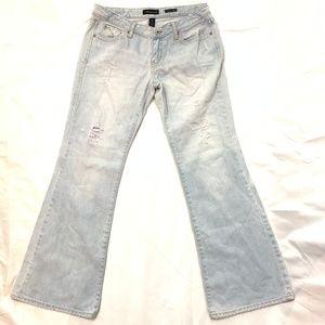 Aeropostale Authentic Flare Distressed Denim Jeans